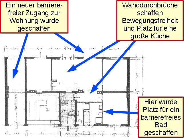 Grundriss der Wohnung nach einem altersgerechten Umbau